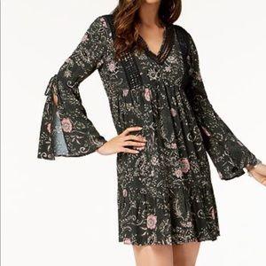 Style & Co Peasant Hippie Dress Black Print XL NWT